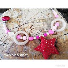 Detské doplnky - Retiazka - hrazda na kočík s hryzatka mi ružová - 10544624_