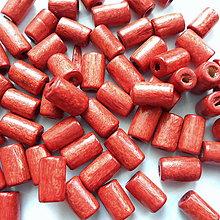 Korálky - Drevený valček 8x4mm-10g (tehlová) - 10544169_