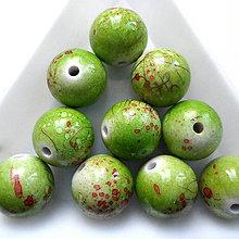 Korálky - Plast 12mm-zel.oliva-10ks - 10544240_