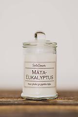 Svietidlá a sviečky - Sójová sviečka v skle so 100% silicou - Mäta&Eukalyptus - 10543436_