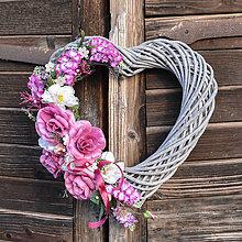 Dekorácie - Veľké srdce s ružami (XL) - 10543056_