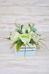 Dekorácie - celoročná dekorácia s pivonkami, zelená s belasou modrou - 10545121_