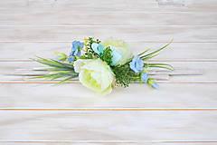 Dekorácie - podlhovastá dekorácia, zelená s belasou modrou - 10545149_