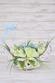 Dekorácie - celoročný košík, zelená s belasou modrou - 10545114_