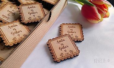 Darčeky pre svadobčanov - Svadobné magnetky . Cookie - 10543074_