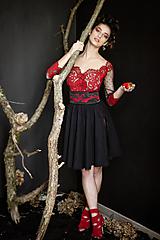 Šaty - Body; kruhová sukňa a opasok - 10545119_