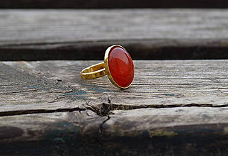 Prstene - Achát pozlátený prsteň AG - 10544270_