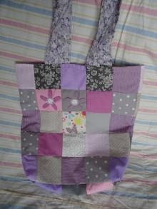 Nákupné tašky - taška šedo-fialová - 10545514_