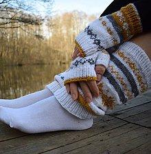 Obuv - set -nórske štucne a bezprsté rukavičky - 10544376_