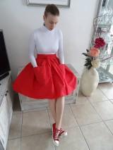 Sukne - Červená ľanová sukňa - 10543128_