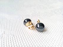 Náušnice - Metalic black pearls clips - 10546570_