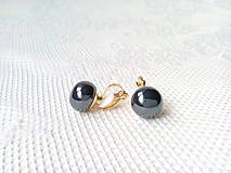 Náušnice - Metalic black pearls clips - 10546571_
