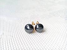 Metalické čierne perlové náušnice - klipsne