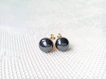 Náušnice - Metalic black pearls clips - 10546572_