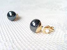 Náušnice - Metalic black pearls clips - 10546573_