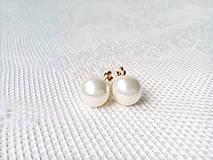 Biele perlové náušnice - klipsne