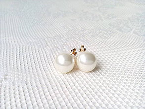 Náušnice - White pearls clips - 10546602_