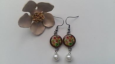 Náušnice - Živicové s perlou - 10546973_