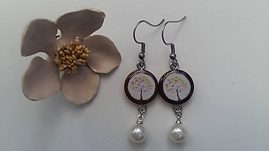 Náušnice - Živicové s perlou - 10546988_