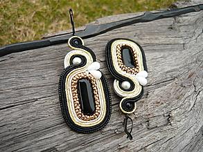Náušnice - Soutache náušnice Absolutely Elegant...čierne, zlaté, ivory - 10548981_