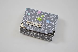 Peňaženky - Peňaženka malá sivá s vtáčikmi - 10546399_
