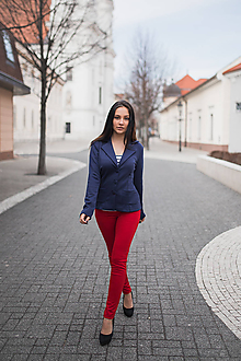 Nohavice - Dámske nohavice červené - 10547890_