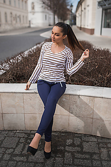 Tričká - Dámske tričko s hnedo -bielymi pásikmi - 10548232_