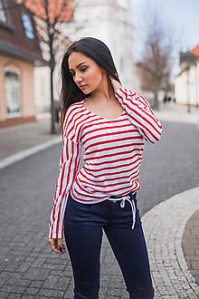 Tričká - Dámske tričko s červeno-bielymi pásikmi - 10548271_