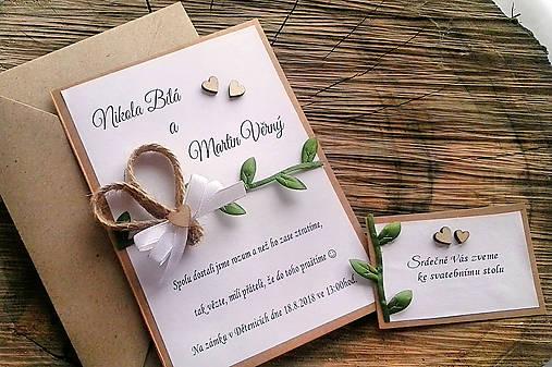 Svadobné oznámenie prírodní lístky
