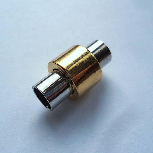 Magnet.zapínanie s otvorom-1ks (Ø6mm-strieb/zlatá)
