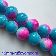 Korálky - Sklenené maľované-1ks (12mm-ružová/modrá) - 10548579_