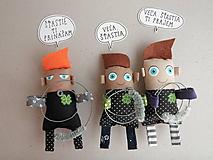 Magnetky - Kominárik pre šťastie - textilná magnetka - 10549053_