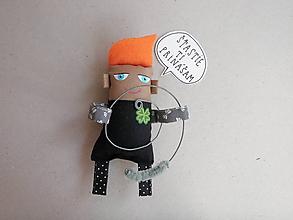 Papiernictvo - Kominárik pre šťastie - textilná magnetka - 10548669_
