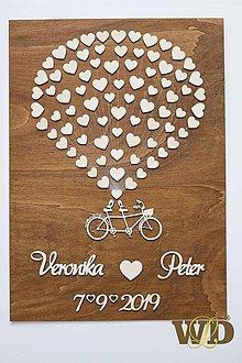 Obrazy - Svadobný bike - kniha hostí pre 70 ľudí - 10545972_