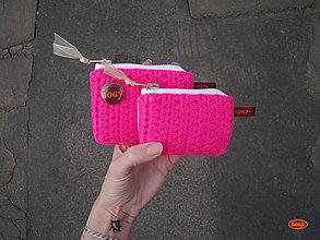 Peňaženky - háčkovaná kapsička či peněženka pink - 10546155_