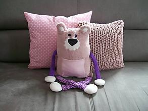 Hračky - Macko s vreckom na drobnosti- ružový - 10547188_