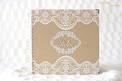 Svadobný fotoalbum (s čipkou a perličkami)