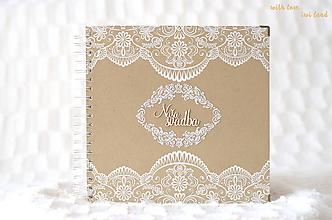 Papiernictvo - Svadobný fotoalbum (s čipkou a perličkami) - 10549066_