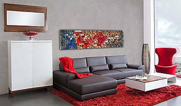 Dekorácie - Závesný drevený mozaikový 3D obraz XL - vzor 1 - 10548820_