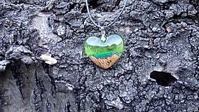 Náhrdelníky - Prívesok srdiečko zelené - 10546249_