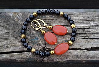 Sady šperkov - Sada náušnice a náramok v pozlátenom striebre - 10545696_