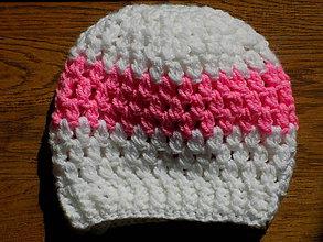 Detské čiapky - hačkovaná čiapka - bielo ružová - 10546470_