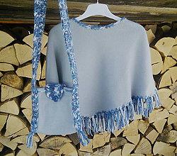 Iné oblečenie - Detské pončo s taštičkou - šedomodré - 10545646_