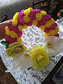 Dekorácie - Farebný kvetinový veniec - 10546774_