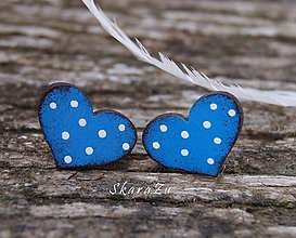 Náušnice - Heart dots mini // Blue - 10547395_