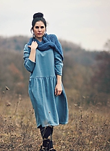 Šaty - Bavlněné šaty modrozelené - 10548852_