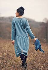 Šaty - Bavlněné šaty modrozelené - 10548854_