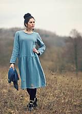 Šaty - Bavlněné šaty modrozelené - 10548855_