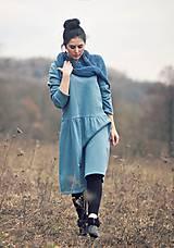 Šaty - Bavlněné šaty modrozelené - 10548863_
