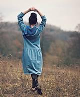 Šaty - Bavlněné šaty modrozelené - 10548865_